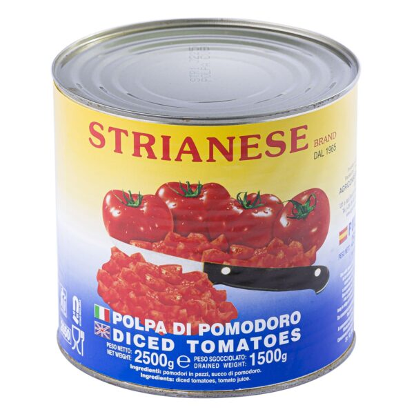 Polpa di pomodoro cubettata 6x2,5kg, Strianese. Confezione: 6pzx2,5kg.