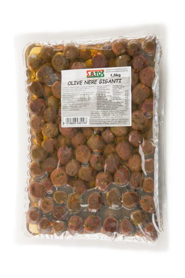 Olive nere condite in vaschetta da Kg.1,5, Satos. Confezione: 1,5.