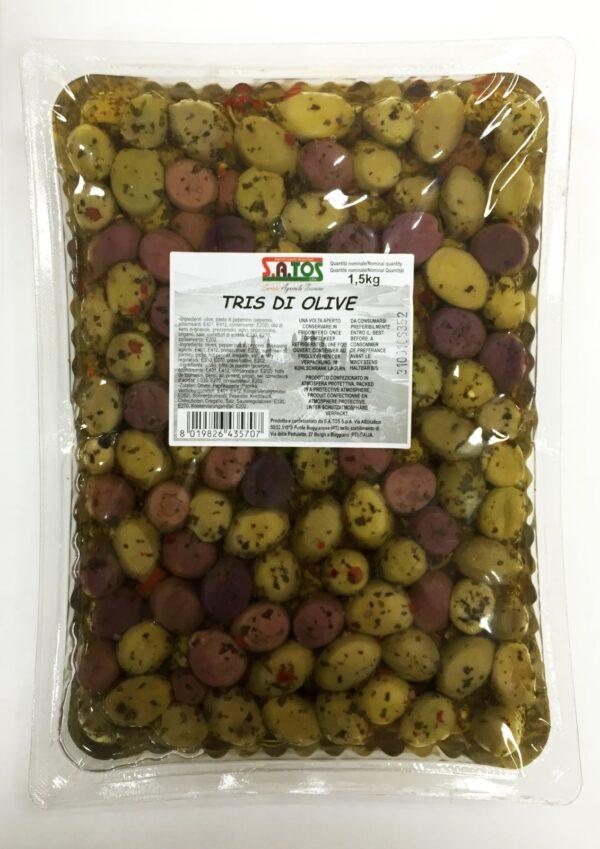Tris di olive condite Kg.1,5, Satos. Confezione: 1,5.