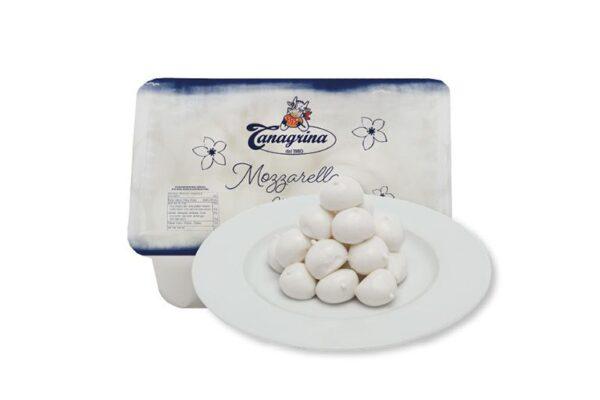 Mozzarelle ciliegine in vaschetta gr.250, Tanagrina. Confezione: gr.250.